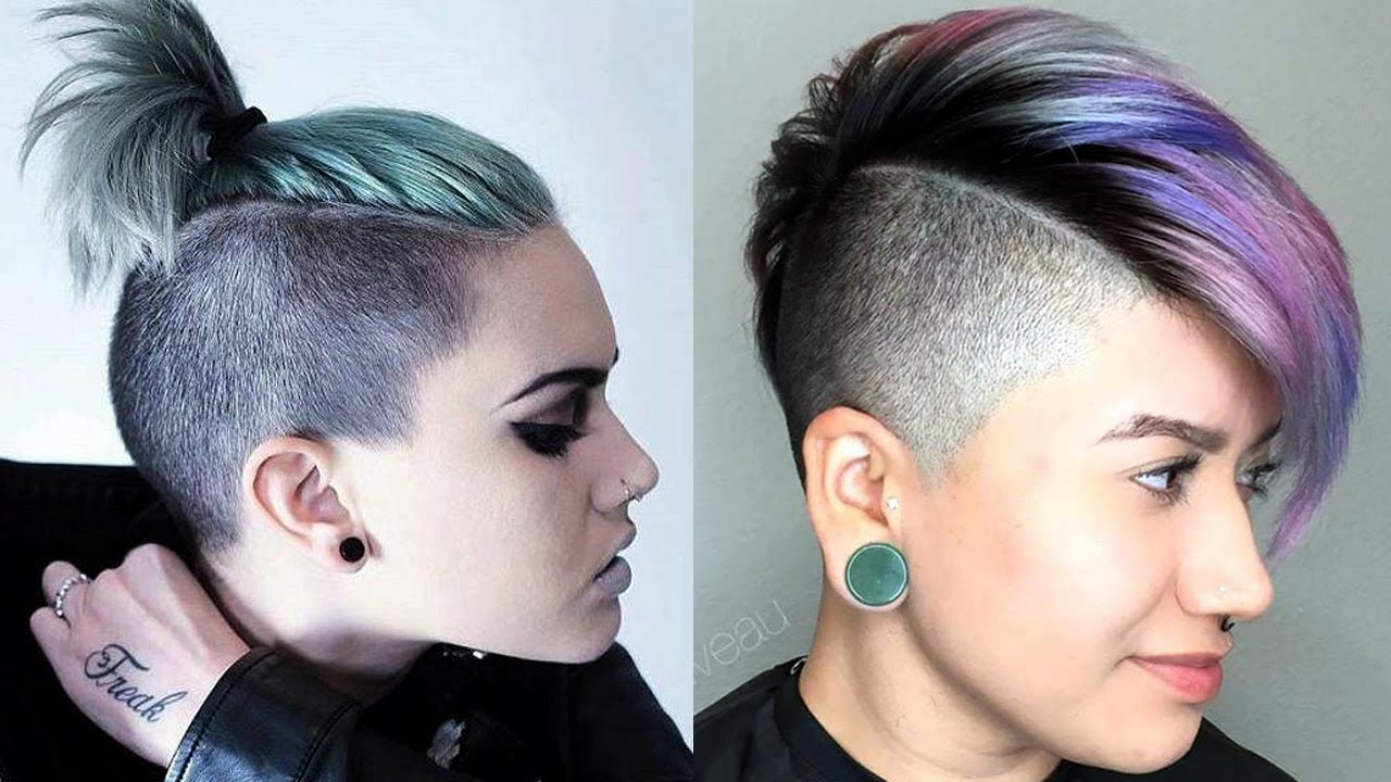 Long Top Short Sides Haircut Women Extreme Short Hair Cut For Women Youtube