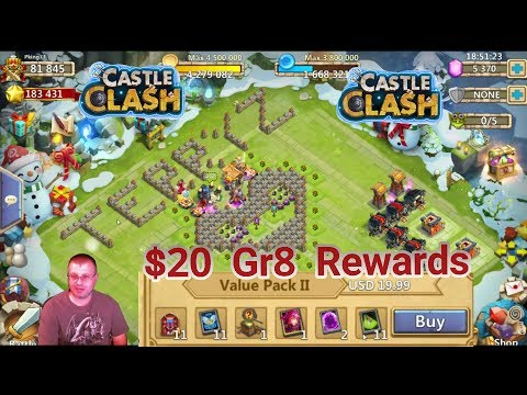 Castle Clash : Nice Rewards $20 Purchase Gem Rolling Not So Much