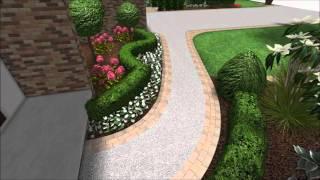 Landscape Design 3D Walkthrough - Front Yard Landscaping - Canyon Rock Wall - Paver Brick Driveway