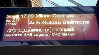 SBB Ansage Verspätung Eurocity nach Milano Centrale auf Deutsch, Italienisch und Englisch