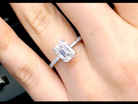 emerald cut deco art anniversary il minimalist diamond bridal set wedding rose jewellery morganite ring eternity dainty band engagement gold halo