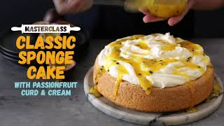 Classic Sponge Cake with Passionfruit Curd and Cream