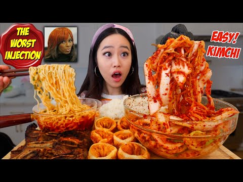 HOW TO MAKE & ENJOY INSTANT KIMCHI AT HOME! Spicy Ramen + Kimchi Dumplings Mukbang