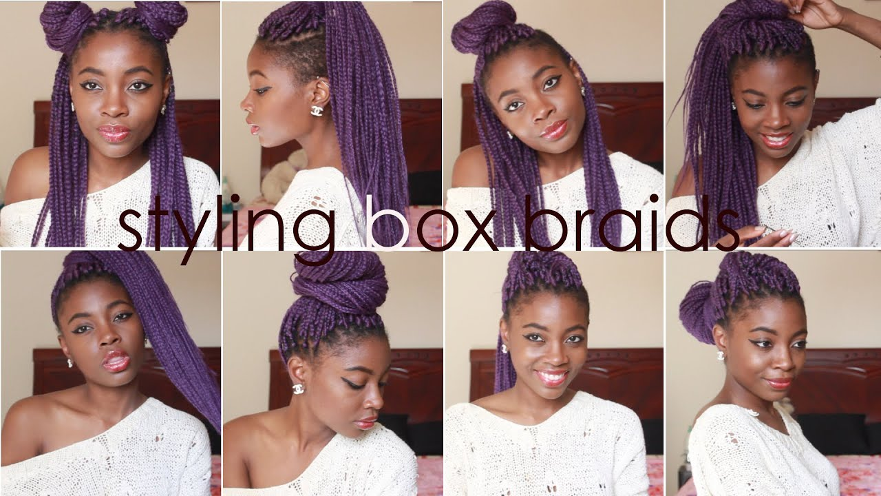 How I Style BOX BRAIDS 8 Quick Hairstyles - YouTube
