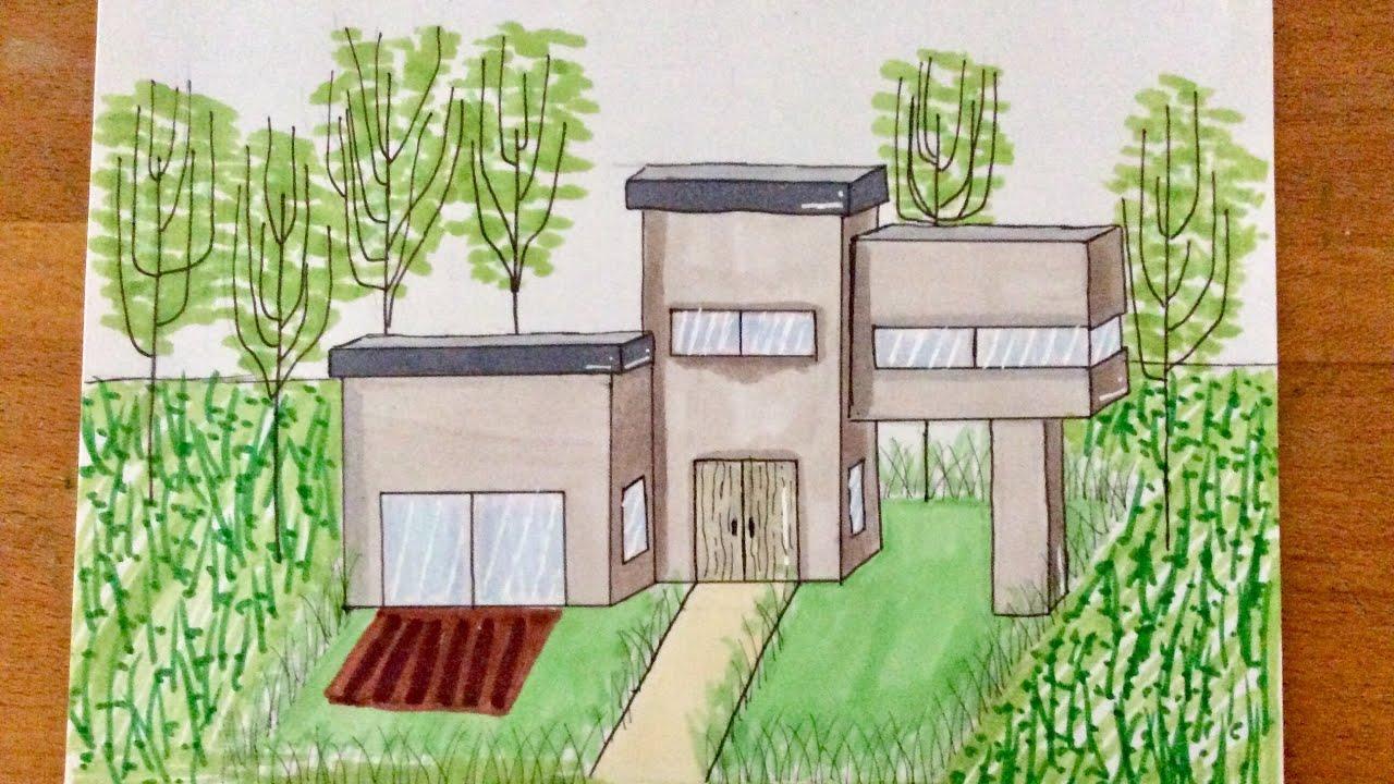 Dessin une maison moderne