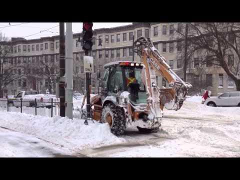 MBTA Crews Clearing Green Line Tracks