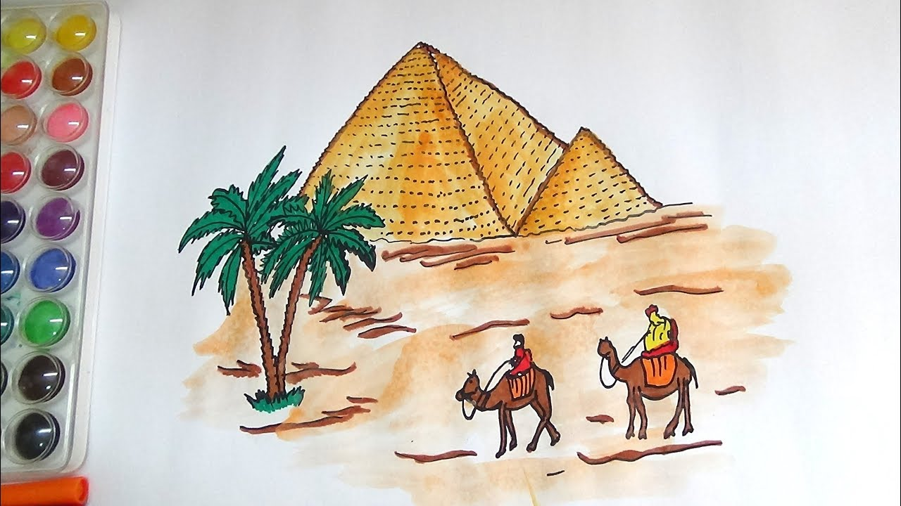 draw and color egypt pyramid coloring page for kids how to draw