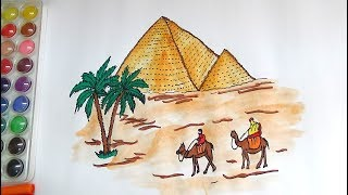 DRAW AND COLOR EGYPT PYRAMID COLORING PAGE FOR KIDS-HOW TO DRAW PYRAMIDS