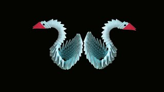 3d origami swan | How to make a 3d origami swan with paper | 3d天鵝,三角插摺紙教程
