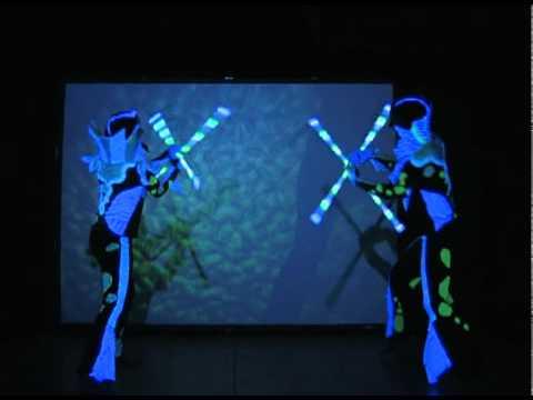 Zan and Aurora 2008 partner glow staves: Fish Sticks Routine