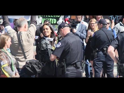 Rosario Dawson Got Arrested Wearing A Bernie Sanders Jacket at Capitol Hill demonstration
