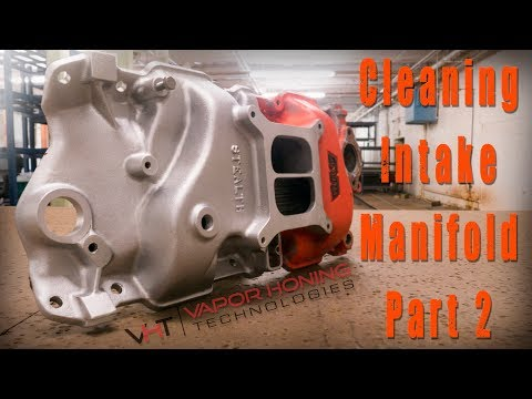 Vapor Blasting Big Block Manifold. The fast way to restore and clean off paint or polish Part 2.
