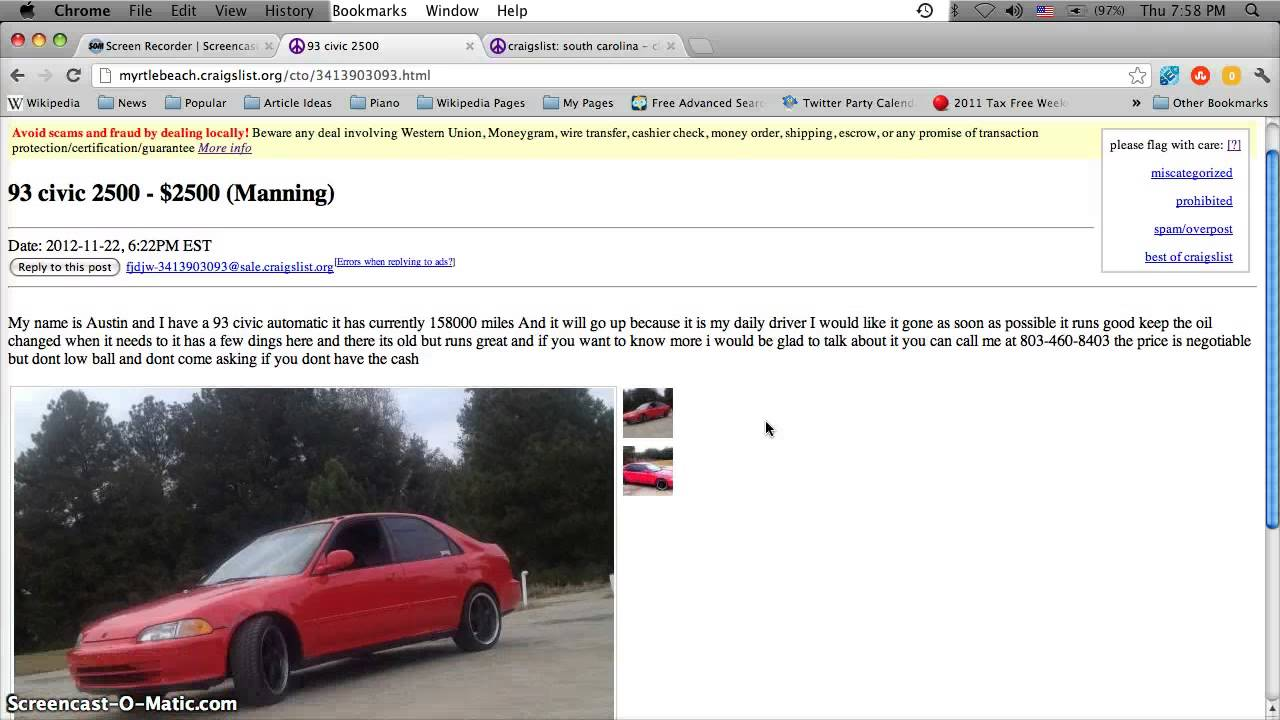 Craigslist Used Cars Myrtle Beach South Carolina