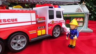 SIMBA Dickie American Fire Truck IVECO Unboxing and Fireman Sam Shop Fire Disaster(, 2016-07-10T21:35:12.000Z)