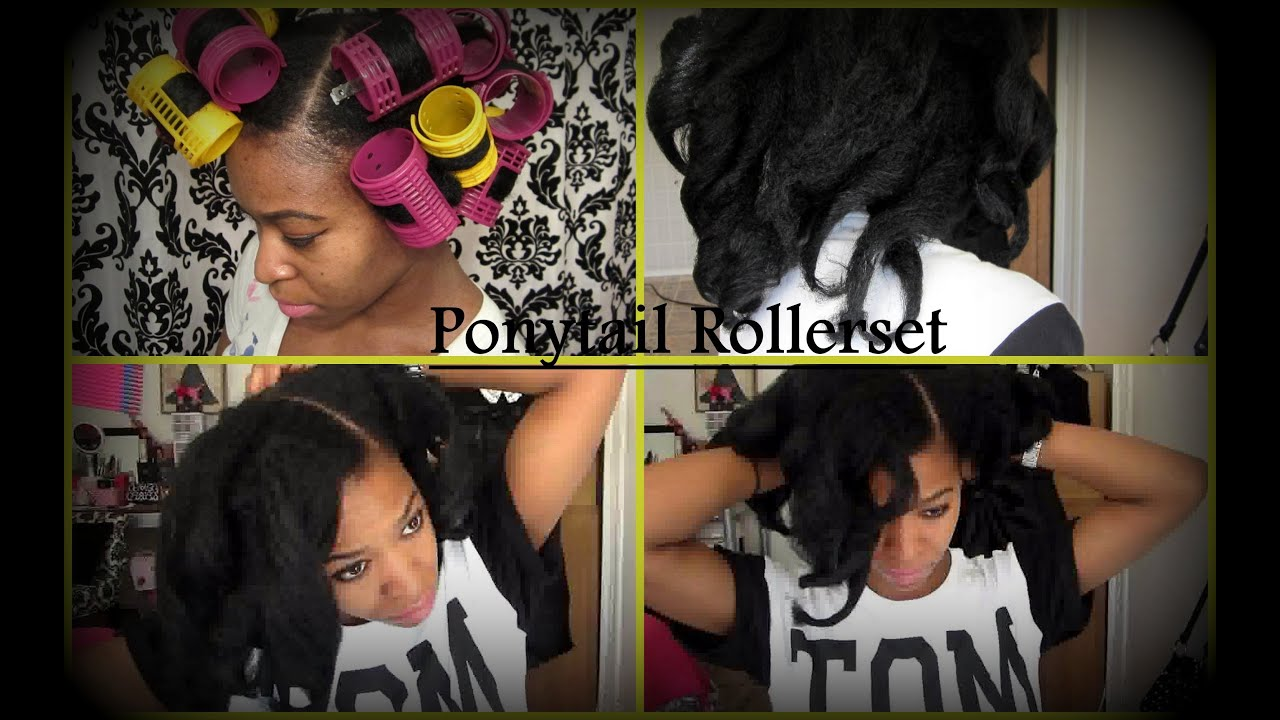 Natural Hair Ponytail Rollerset On Kinky Curly Hair No