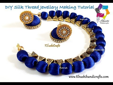 DIY Silk Thread Necklace and Jhumkas | Jewelry making Tutorial