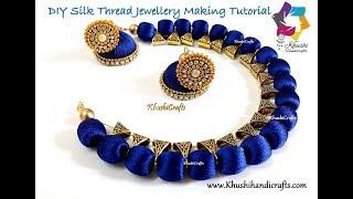 DIY Silk Thread Necklace and Jhumkas | Jewelry making Tutorial