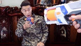 NERF Elite Firestrike gun vs NERF Elite Strongarm BATTLE SHOT | Nerf Gun War Films