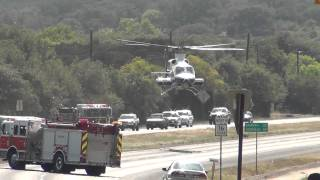 Helicopter Lands on HWY in Texas