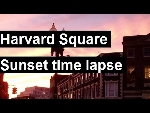 Harvard Square Sunset time lapse -view from star bucks (harvard coop, harvard yard, cvs,