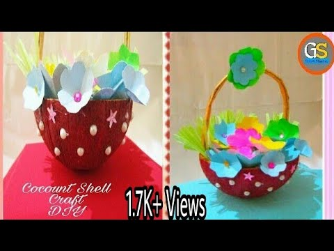Coconut Shell Craft || Coconut Shell craft idea || flower vase