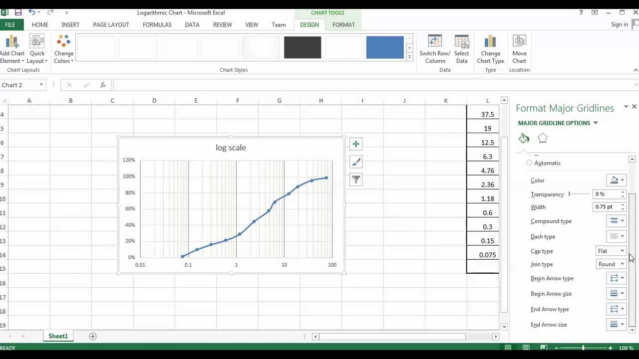 how to draw logarithmic chart on excel