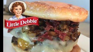Little Debbie Honey Bun Burger On Let's Get Greedy! Food Review #10