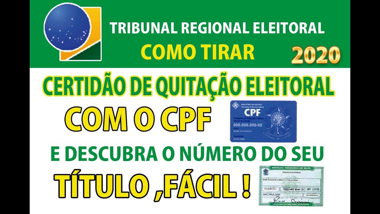 COMO TIRAR CERTIDÃO DE QUITAÇÃO ELEITORAL USANDO O CPF E AINDA DESCOBRIR Nº DO TÍTULO ELEIÇÕES 2020.