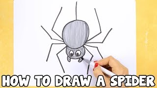 How to Draw a Spider - drawing tutorial for beginners or kids