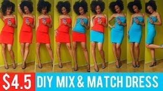 $4.5 DIY MIX & MATCH.COM DRESS in 15min | 2 PIECE SET | T Shirt Transformation Ep 10 #FIRSTDATES