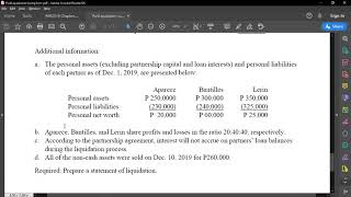 Partnership Liquidation - Lump Sum Method