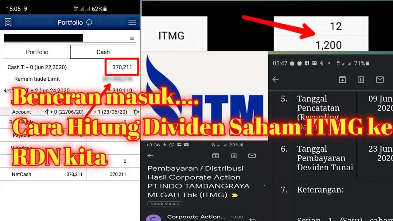 Cara menghitung dividen saham PT. ITMG yang masuk ke ...