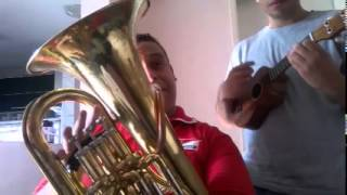 Lazy song Bruno Mars, ukulele and Euphonium