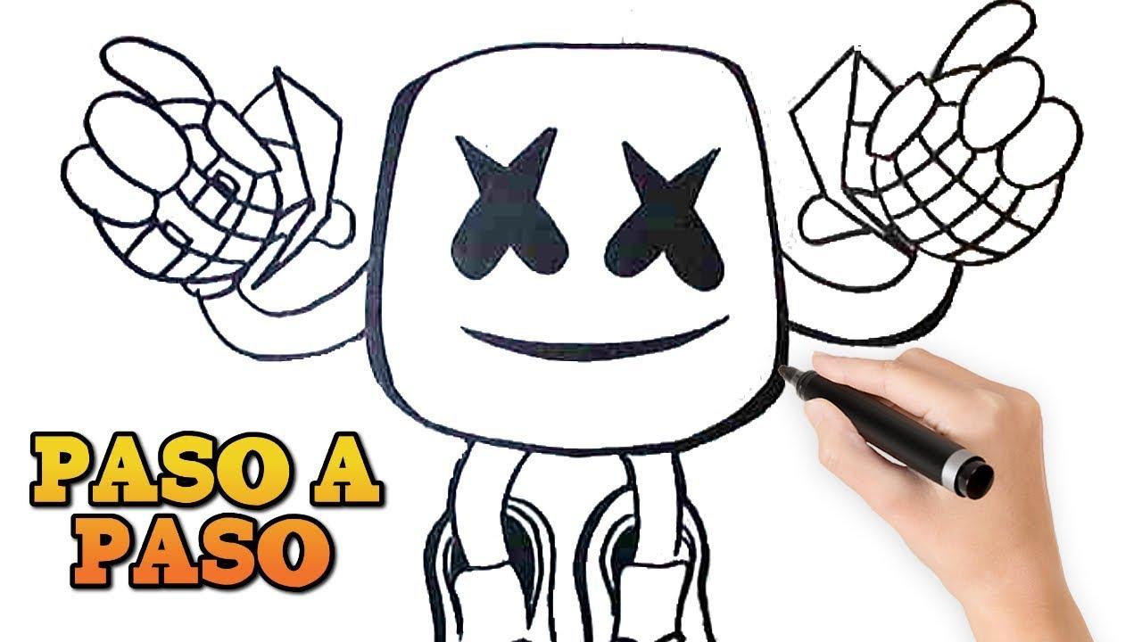 Como Dibujar A Marshmello Paso A Paso Fornite How To Draw Marshmello Step By Step