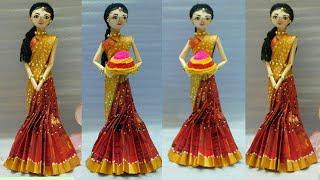 Newspaper doll in Indian traditional costume ll Bathukamma festival