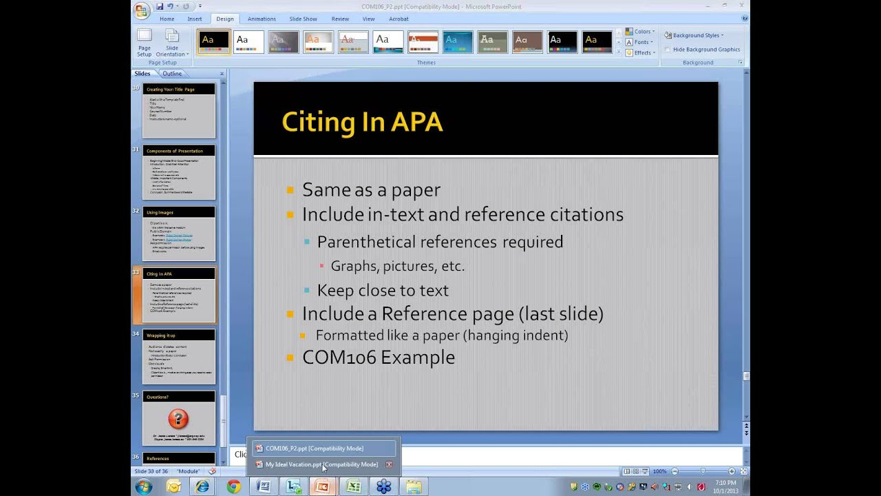 sample powerpoint presentation in apa format When citing online lecture notes, be sure to provide the file format in brackets after the lecture title (eg powerpoint slides, word document.
