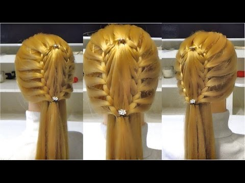 Легкая прическа на длинные волосы из косы рыбий хвост