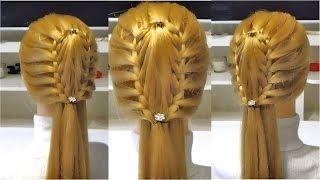 Прическа в школу с плетением  на длиннын и средние волосы