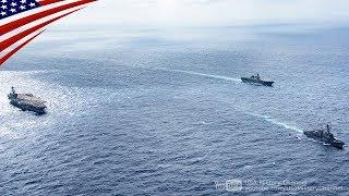 海上自衛隊のひゅうが型護衛艦いせ(DDH-182)と、アメリカ海軍のニミッツ...
