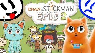 ГОТОВИМ СУП в игре СТИКМЕН Draw a Stickman EPIC 2 ПОГОНЯ говорящий КОТ ДЖЕМ играет детский летсплей