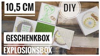 Explosionsbox weiß/grün 10,5cm Geschenkschachtel zur Hochzeit DIY IDEE [Tutorial | deutsch]