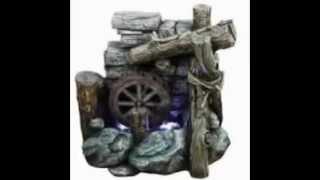 Illuminated Urn And Water Wheel Fountain