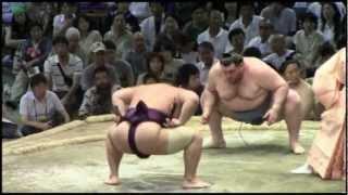 2012年 大相撲名古屋場所14日目 千代大龍vs臥牙丸.
