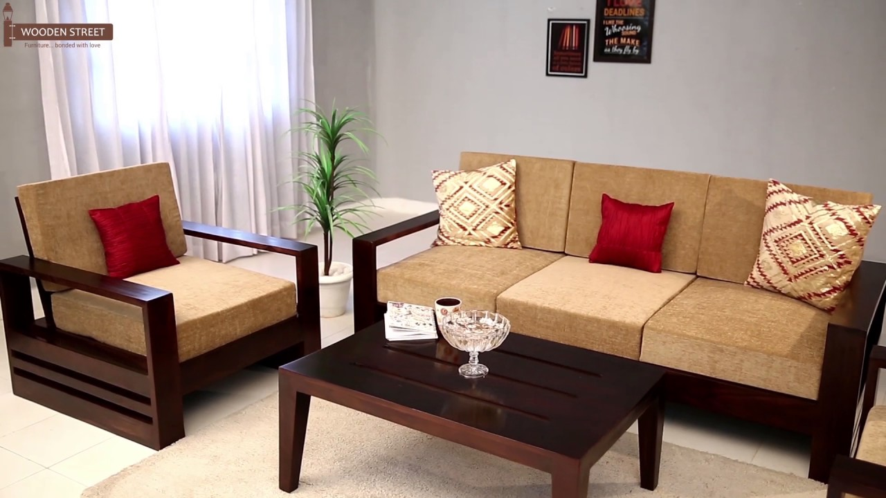 Wooden sofa set buy winster 3 1 1 seater sofa set online for Three room set design