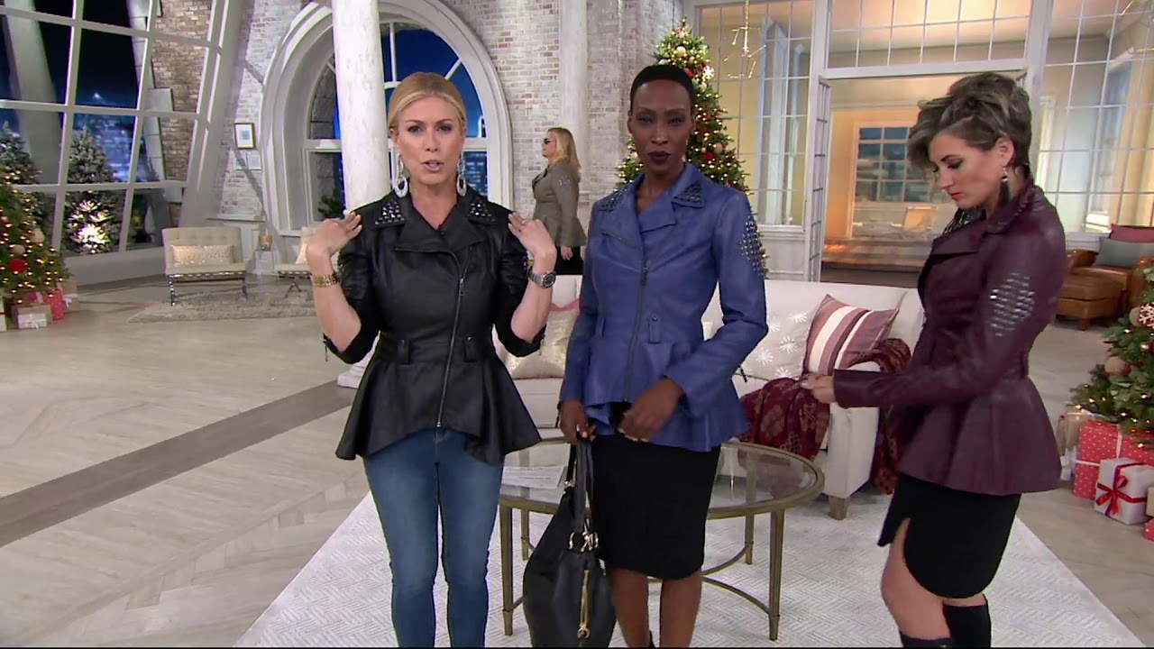 217718b822a9c G.I.L.I. Faux Leather Peplum Motorcycle Jacket on QVC - YouTube