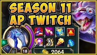 WAIT...WTF? 900 AP TWITCH SEASON 11 BUILD IS ACTUALLY 100% UNFAIR! NEW FULL AP TWITCH TOP BUILD!