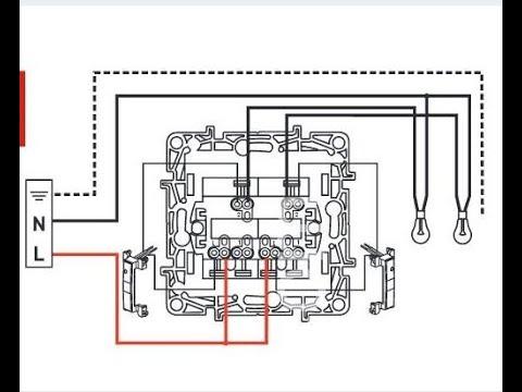 Установка двухклавишного выключателя c подсветкой фирмы Legrand
