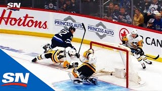 Jets' Mathieu Perreault Throws Puck On Net That Fools Penguins' Tristan Jarry