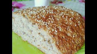 Домашний полезный хлеб состав: пророщенная пшеница, семя, льна, семя подсолнуха, мука