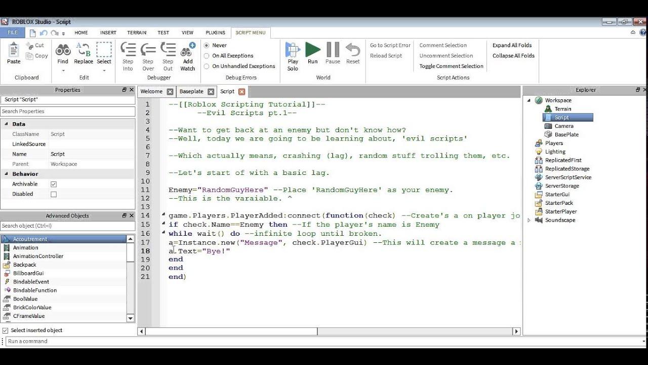Roblox Scripting Tutorial Crashing Trolling Etc Pt 1 Youtube